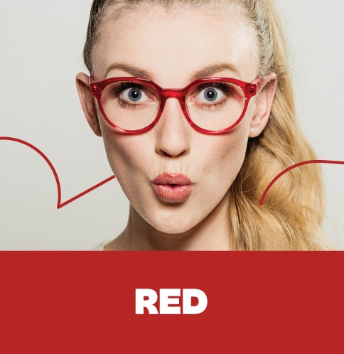 Shop red glasses - carmine to cherry, and everything in between