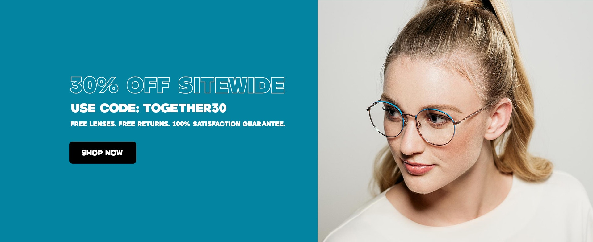 30% off a complete pair of glasses sale